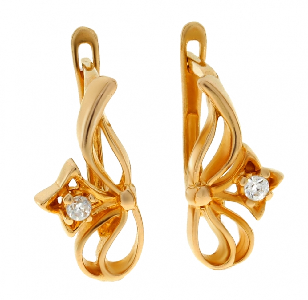 Ladies gold earrings with zirconium AA502