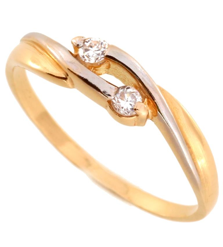Ladies gold ring with zirconium, rhodium coated elements