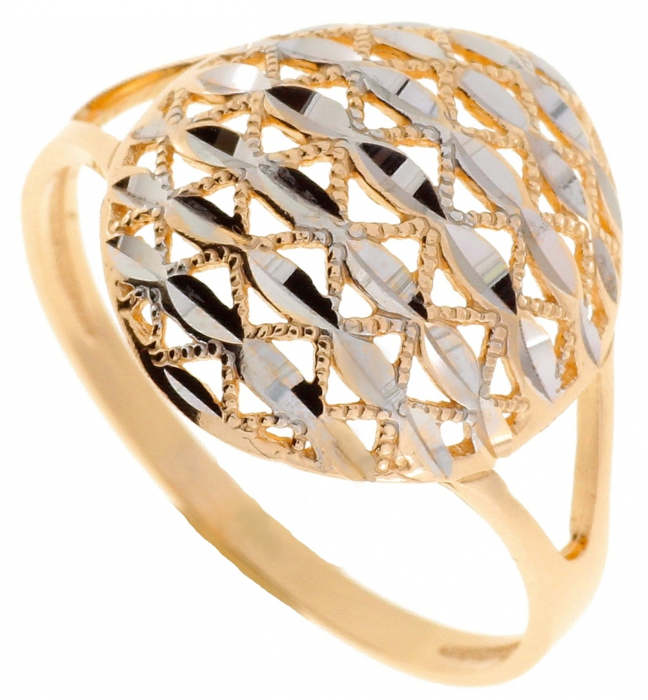Ladies gold ring rhodium coated