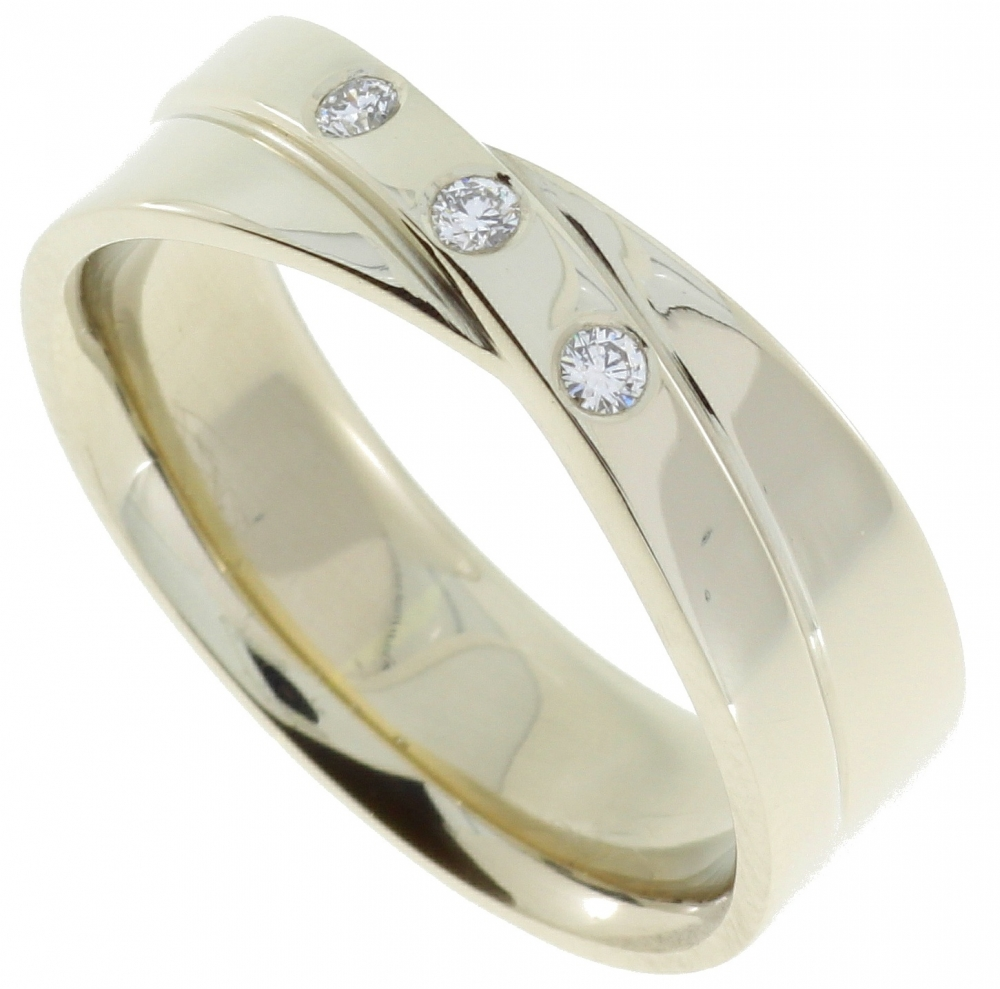 White gold female wedding ring with 0.02 carat diamonds