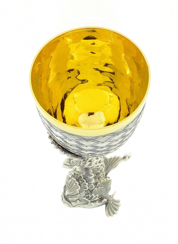 Gold plated silver handmade cup