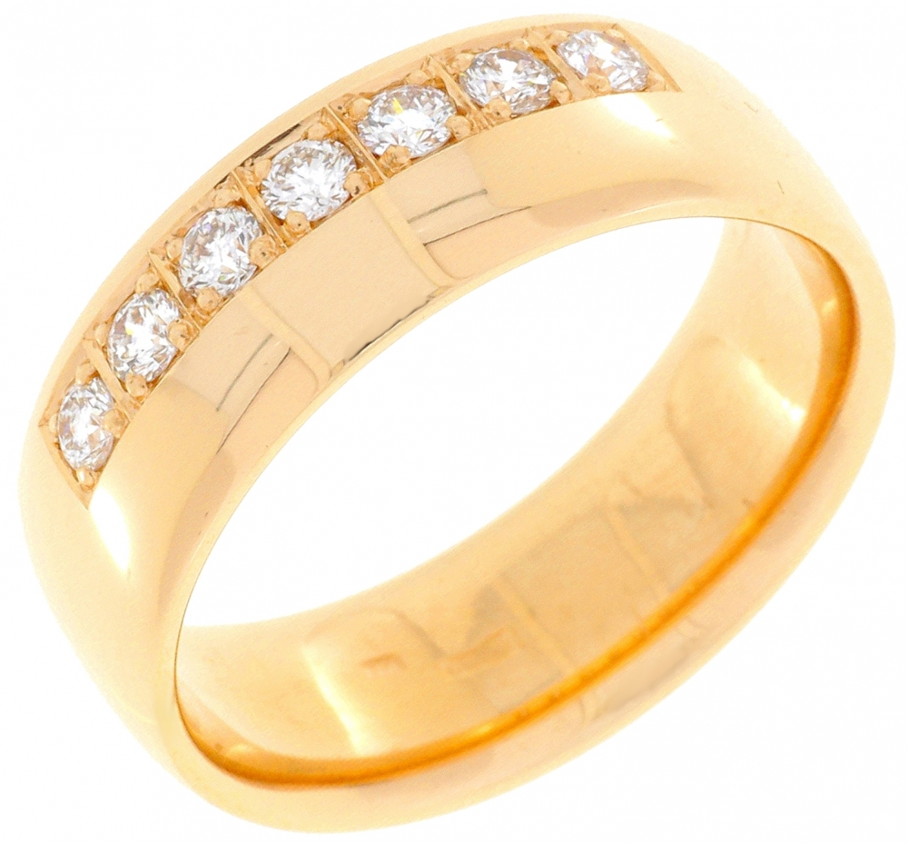 Women's wedding ring red gold with diamonds