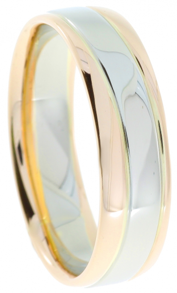 Female gold wedding ring with a red and white gold.