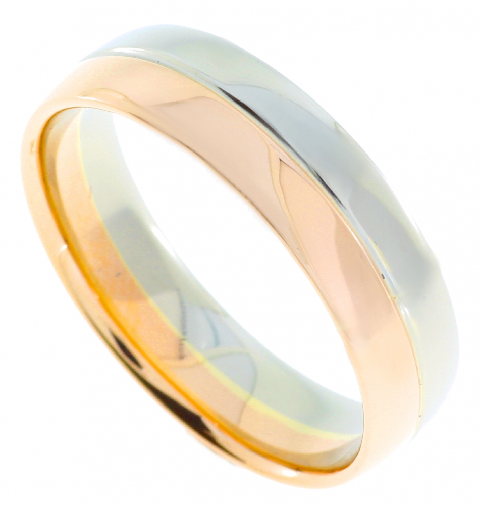 Wedding ring for women in white and red gold.