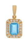 Gold pendant with zircons and topaz.