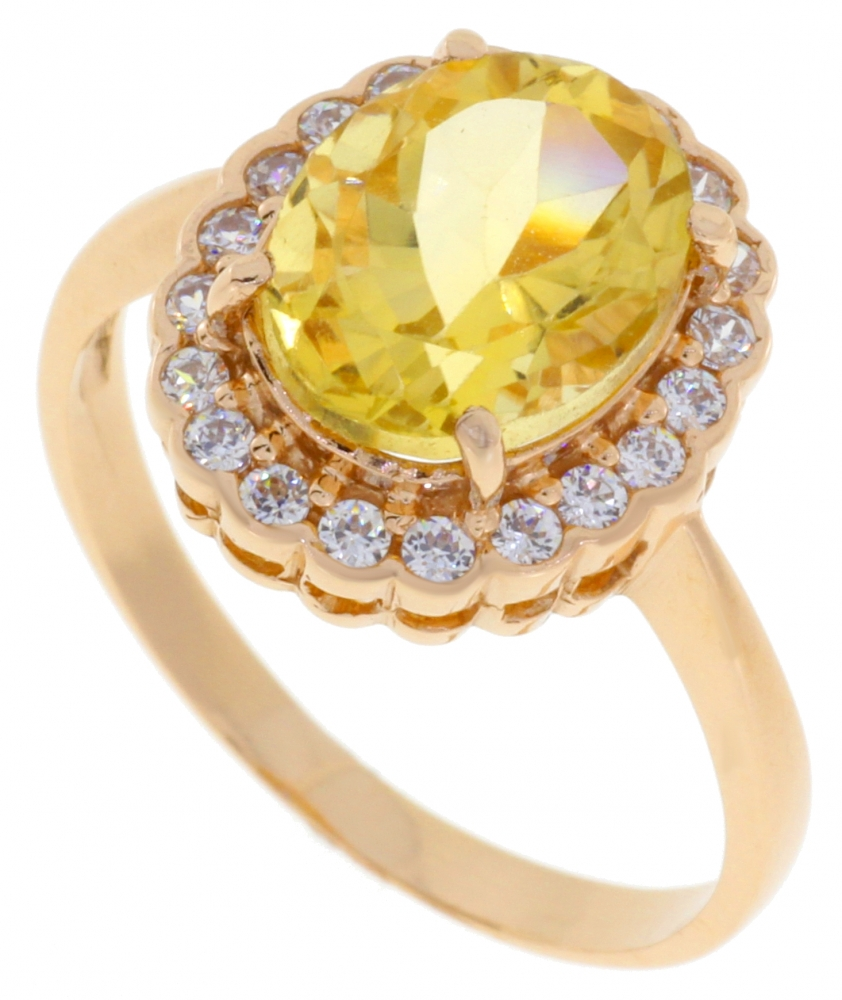 Gold ring with citrine and zircons.