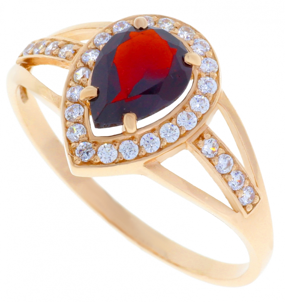 Gold ring with garnet and zircon.