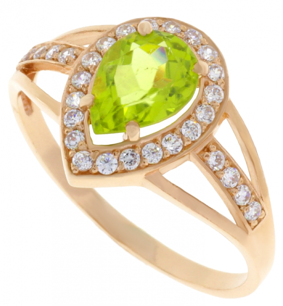 Gold Ring with Peridot and zircons.