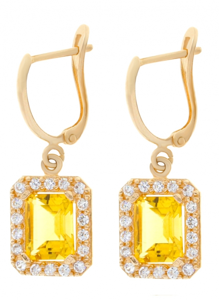 Gold earrings with citrine and zircons.