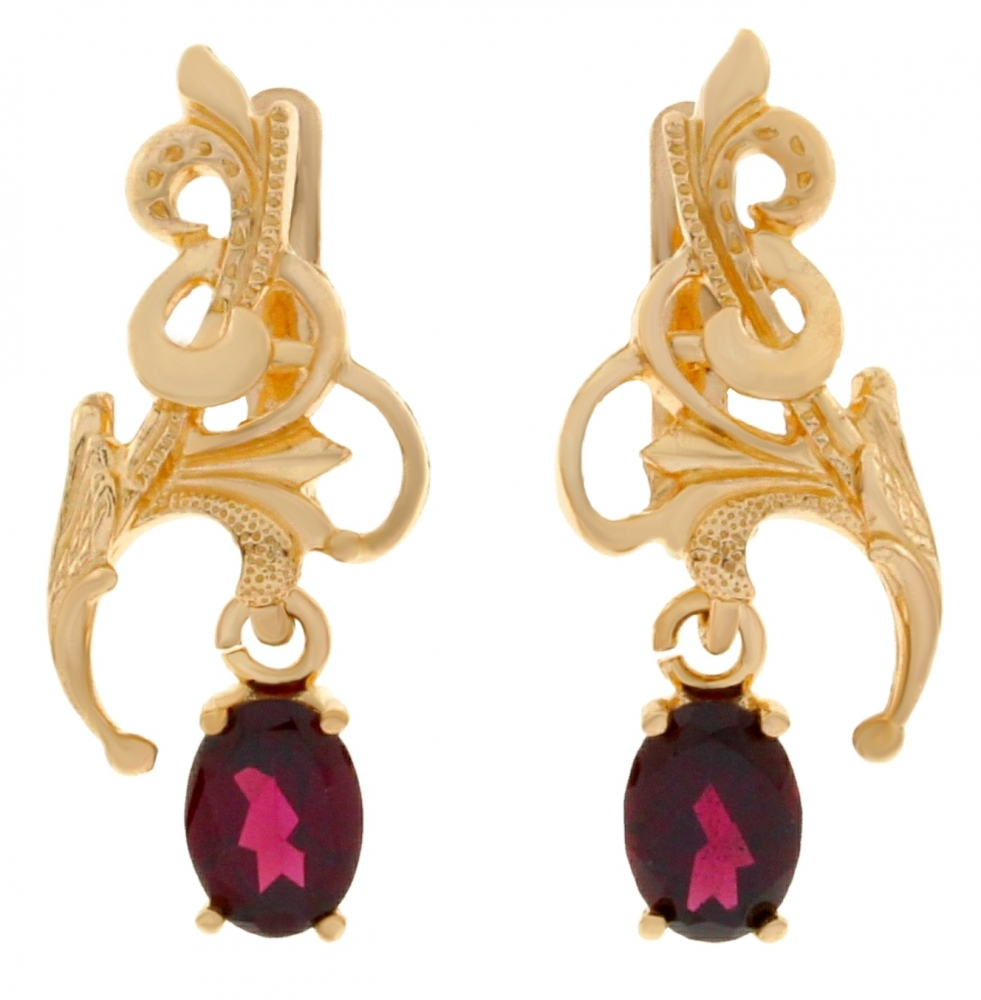 Gold earrings with garnets.