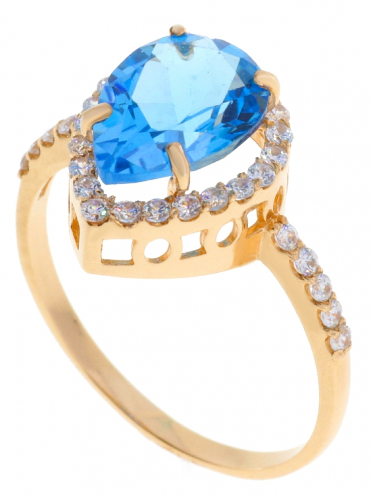 Gold female ring with topaz and zircons.