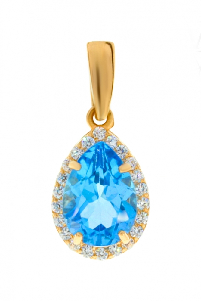 Gold pendant with topaz and zircons.