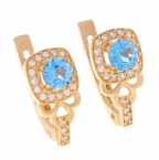 Gold earrings with topaz and zircons AA1115