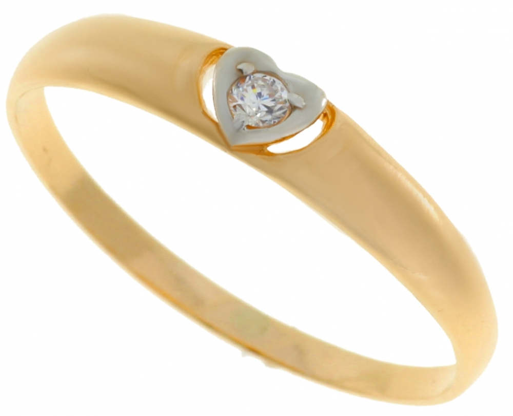 Female gold ring with zirconia - Heart.
