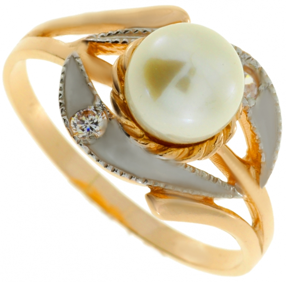 Gold ring with pearl and zircons.
