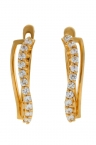 Gold earrings with zircons.
