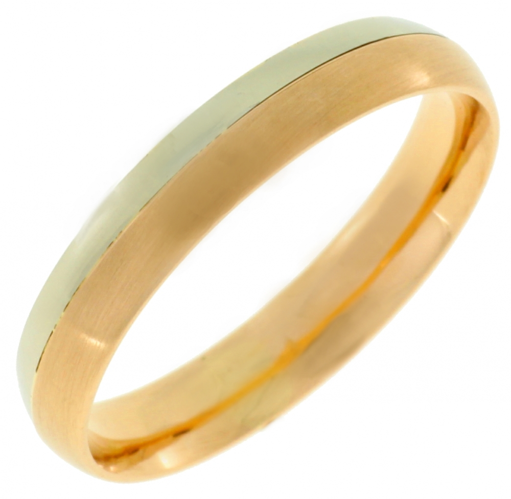Female gold wedding ring from red and white gold.