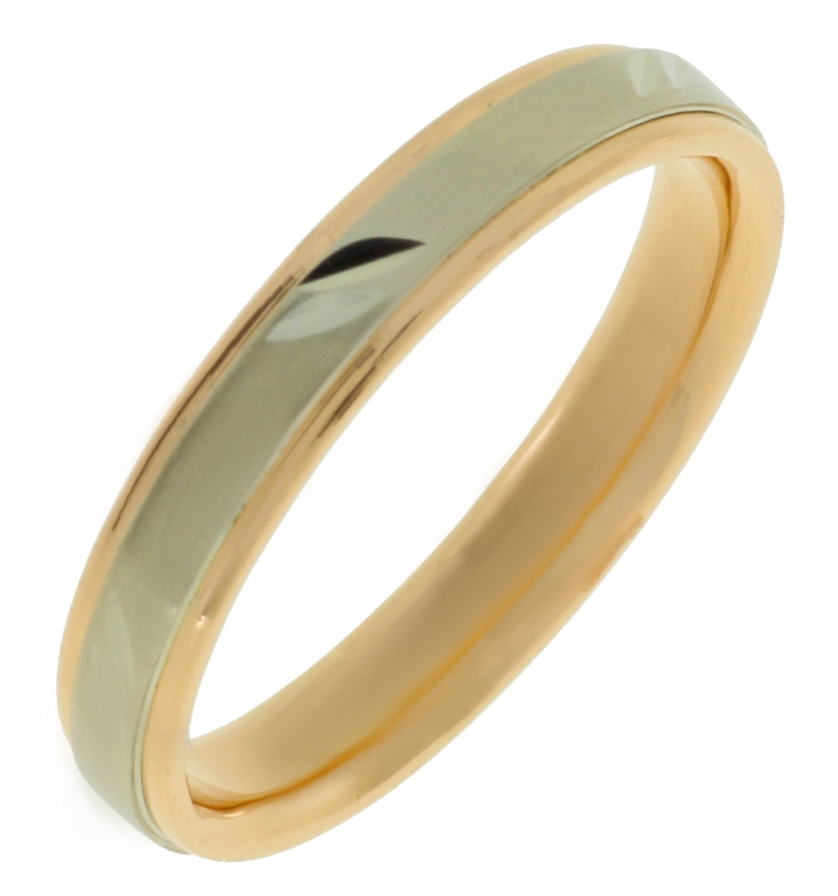 Male gold wedding ring from red and white gold.