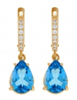 Gold earrings with topaz and zircons.