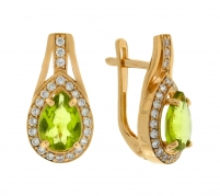 Gold Earrings with Peridot and zircons.