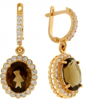 Gold earrings with smoky quartz and zircons AA1147