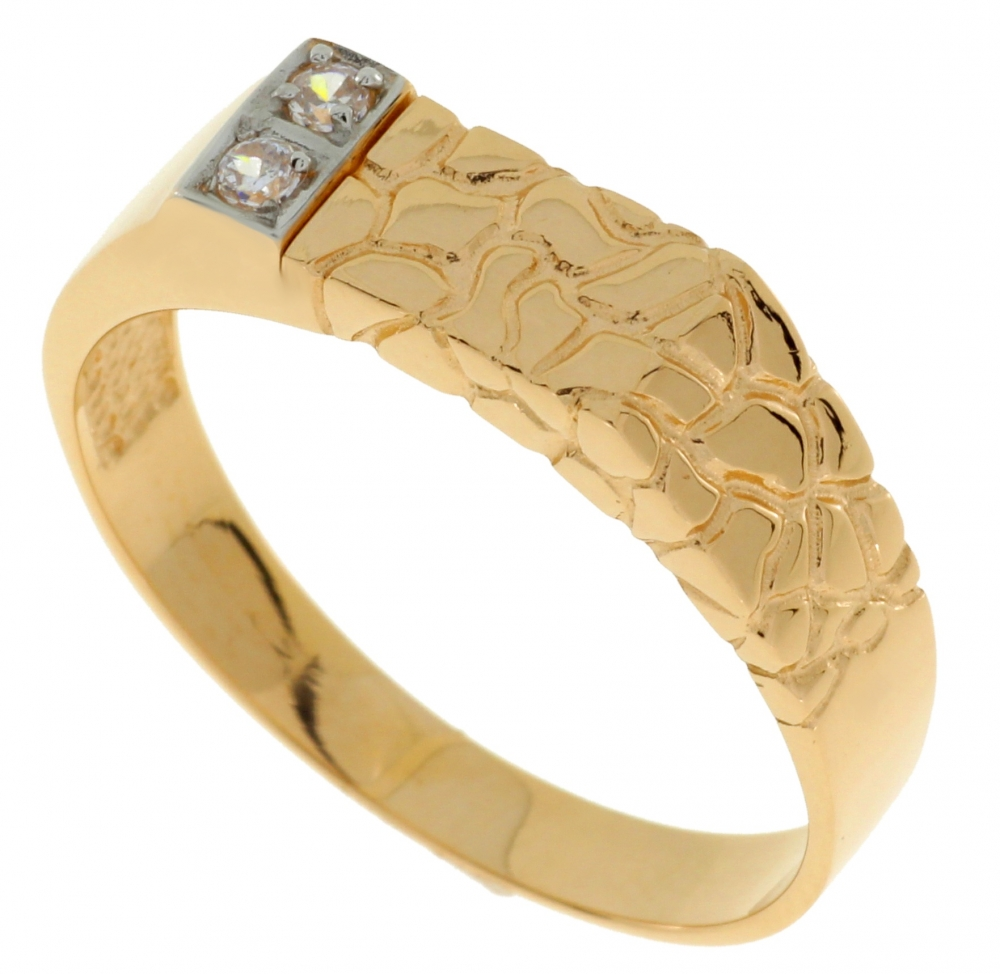 Male golden ring with zirconium, rhodium coated elements.