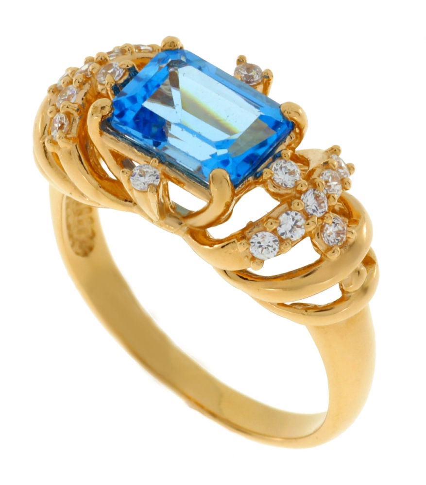 Gold ring with topaz and zircons.