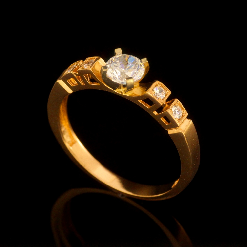 Ladies gold ring with white gold and zirconiums ZM1186